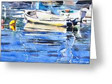 Dinghies At High Tide Greeting Card