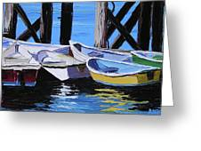 Dinghies At The Dock Greeting Card