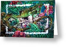 Dining At The Hibiscus Cafe - Iguana Greeting Card