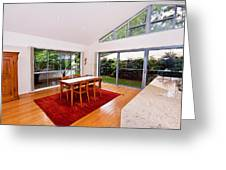 Dining Room With Slanted Ceiling Greeting Card