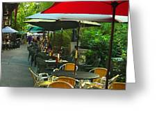 Dining Under The Umbrellas Greeting Card