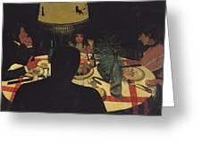 Dinner By Lamplight Greeting Card by Felix Edouard Vallotton
