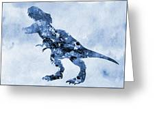 Dinosaur Rex-blue Greeting Card