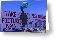 Dinosaur Sign Take Pictures Now Greeting Card