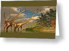 Diplodocus Dinosaur Romance Greeting Card