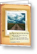 Dirt Road With Scripture Verse Greeting Card