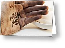 Dirty Hand With Soap Greeting Card