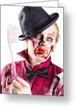 Diseased Woman With Big Toothbrush Greeting Card