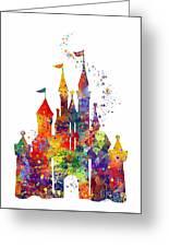 Disney Castle 6 Watercolor Print Greeting Card
