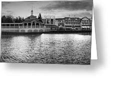 Disney World Boardwalk Gazebo Panorama Bw Greeting Card