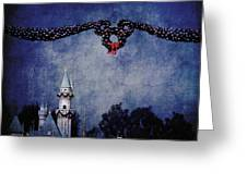 Disneyland Castle At Christmas Time Greeting Card