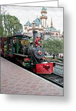 Disneyland Railroad Engine 3 With Castle Greeting Card
