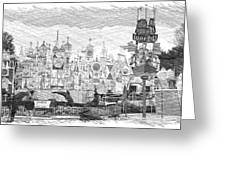 Disneyland Small World Panorama Pa Bw Greeting Card