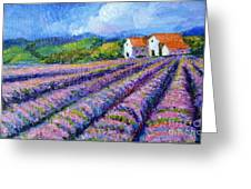 Distant  Houses And Lavender Fields Greeting Card