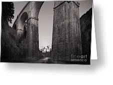 Distant Mountain And Long Bridge Greeting Card