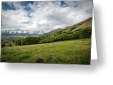 Distant Snow-capped Mountains Greeting Card