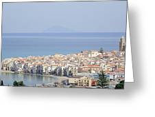 Distant View Of Cefalu Sicily Greeting Card