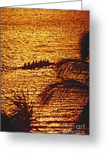 Distant View Of Outrigger Greeting Card