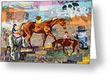 Distracted Riding Greeting Card by Martha Ressler