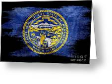 Distressed Nebraska Flag On Black Greeting Card