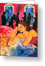 Ditched, Nightclub Bar Painting Greeting Card