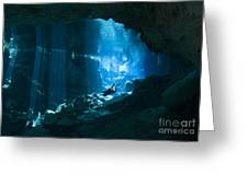 Diver Enters The Cavern System N Greeting Card