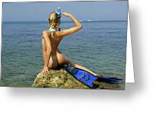 Diver On Guard. Greeting Card