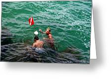 Divers At Sebastian Inlet On The Atlantic Coast Of  Florida Greeting Card