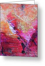 Divine Heart Abstract Orange Pink Heart Painting 8x10 Original Contemporary Modern Painting Greeting Card