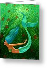 Diving Mermaid Fantasy Art Greeting Card