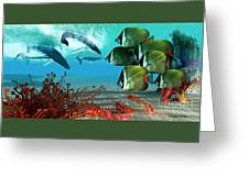 Diving Whales Greeting Card