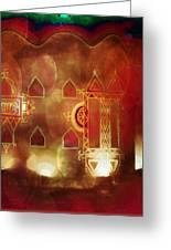 Diwali Card Lamps And Murals Blue City India Rajasthan 2h Greeting Card