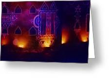 Diwali Card Lamps And Murals Blue Orange India Rajasthan 2f Greeting Card
