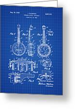 Dixie Banjolele Patent 1954 In Blue Print Greeting Card