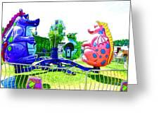 Dizzy Dragon Ride 1 Greeting Card
