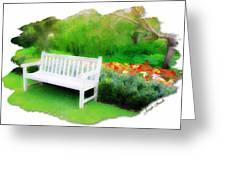 Do-00138 White Bench Greeting Card