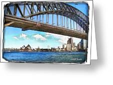 Do-00284 Sydney Harbour Bridge And Opera House Greeting Card