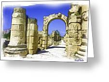 Do-00407 Roman Portico In Tyr Greeting Card