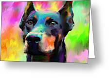 Doberman Pincher Dog Portrait Greeting Card