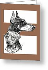 Cropped Doberman Pinscher And Pup Greeting Card