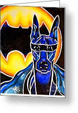 Dog Superhero Bat Greeting Card