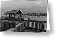 Dock At Mandarin Park Black And White Greeting Card