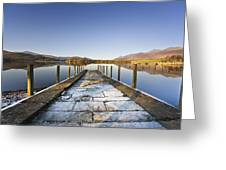 Dock In A Lake, Cumbria, England Greeting Card