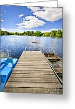 Dock On Lake In Summer Cottage Country Greeting Card
