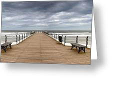 Dock With Benches, Saltburn, England Greeting Card