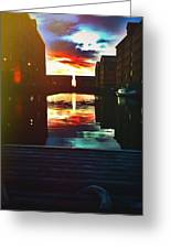 Dockland Sun Down Greeting Card