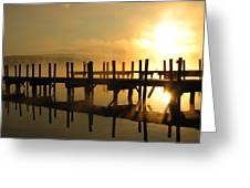 Docks-fire In The Sky Greeting Card