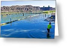 Docks Form Perimeter Of Dierkes Lake In Snake River  Near Twin Falls-idaho  Greeting Card