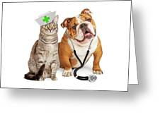 Dog And Cat Veterinarian And Nurse Greeting Card