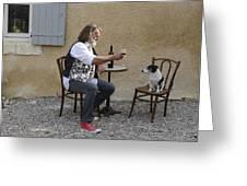 Dog And Master Greeting Card